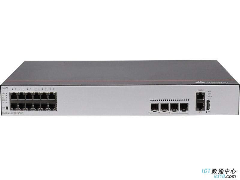 华为S5735S-L12P4S-A交换机(12个10/100/1000BASE-T以太网端口,4个千兆SFP,PoE+,交流供电)